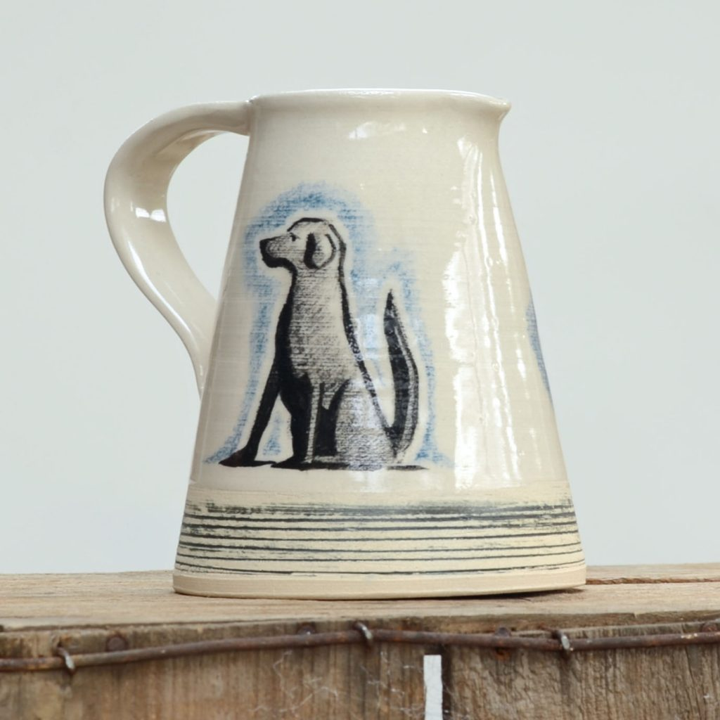 Sending pottery and ceramics by post – Olley Pottery handmade and decorated stoneware Labrador jug made in Kent